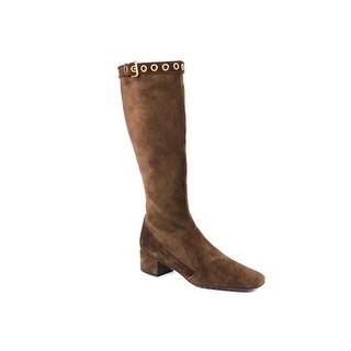 Car Shoe By Prada Brown Suede Buckle Detail Calf High Boots