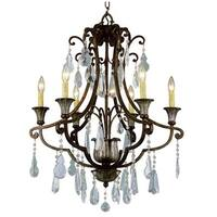 Trans Globe Lighting 3966 Crystal Six Light Up Lighting Chandelier from the Crystal Flair Collection