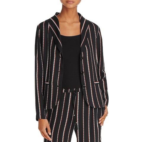 Beltaine Womens Three-Button Blazer Geo Striped Office