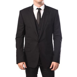 Dolce & Gabbana Men 2-Button Martini 3-Piece Wool Suit Black
