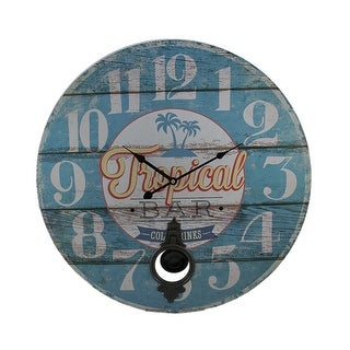 Tropical Bar Distressed Wood Round Pendulum Wall Clock 23 inch