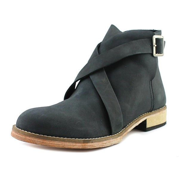 Free People Las Palmas Ankle Boot Women Round Toe Leather Black Ankle Boot