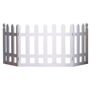 """White Picket Fence Folding Pet Gate Indoor/Outdoor - 19"""" High X 42"""" Long - 19 in. x 42 in."""