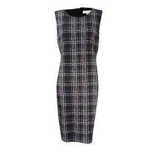 Calvin Klein Women's Petite Matelasse Plaid Sheath Dress