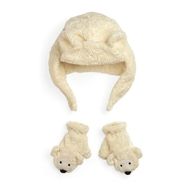 Fuzzy Wear Bear Hat and Mittens Set, 12-18 Months