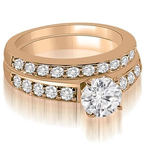 1.40 cttw. 14K Rose Gold Round Cut Diamond Bridal Set