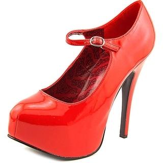 Bordello Teeze-05 Open Toe Patent Leather Platform Heel