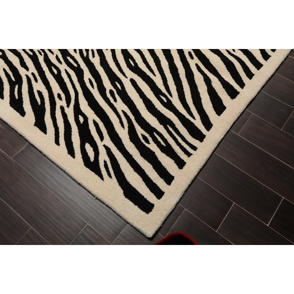 8x10 Hand Tufted 100 Wool Modern Contemporary Oriental Area Rug Ivory Black Color 8 X 10 On Sale Overstock 32265757