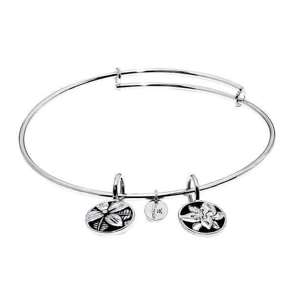 Chrysalis 'Blossom' Expandable Bangle in Rhodium-Plated Brass - White