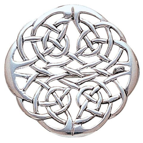 Sterling Silver Elegant Celtic Knot Work Round Brooch Pin