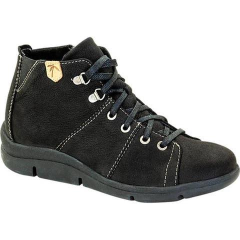 Dromedaris Women's Vonie Lace Up Mid Top Shoe Black Leather