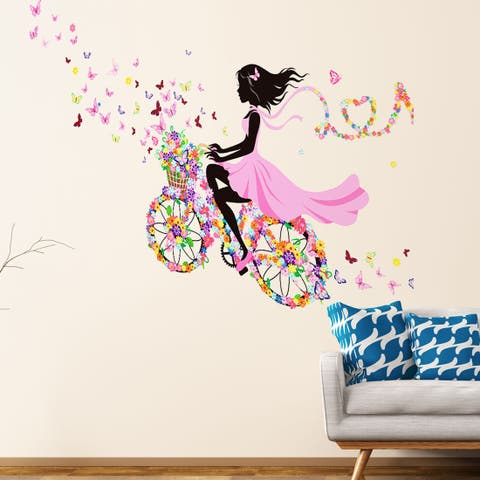 """Butterfly Girl On Bicycle Removable Vinyl DIY PVC Wall Sticker 35.4""""x23.6"""""""