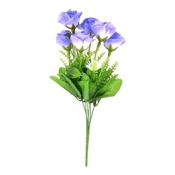 Wedding Party Decor Rose Buds Artificial Flower Bouquet Nosegay Purple Green