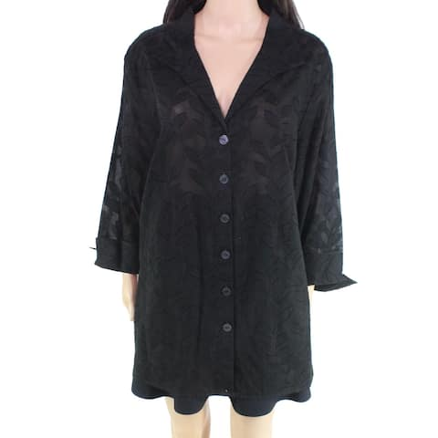 Foxcroft Women's Top Black Size 22W Plus Button Down Shirt Floral