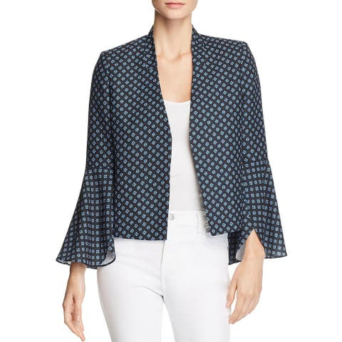 Le Gali Womens Coral Open-Front Blazer Floral Print Bell Sleeves - Azul Multi - XS