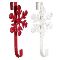 Club Pack of 12 Decorative Red and White Snowflake Christmas Wreath Door Hangers 18""