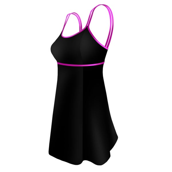 Double Strap Lingerie Swimdress in Solid Black with Pink Trim