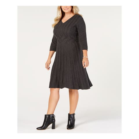 CONNECTED APPAREL Gray 3/4 Sleeve Knee Length Dress Size 1X