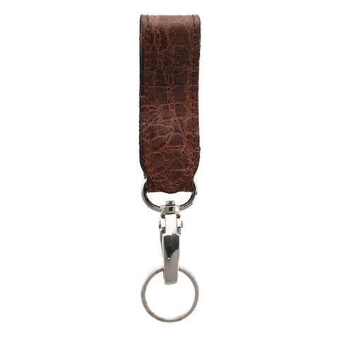 3 D Belt Company Leather Rustic Gator Skin Print Fob with Carabiner Key Ring - one size