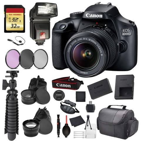 Canon EOS Rebel 4000D Digital SLR Camera +EF-S 18-55mm f/3.5-5.6 DC - Essential Accessory Bundle