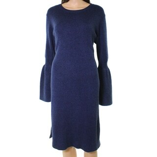 Philosophy Blue Womens Size Large L Bell-Sleeve Sweater Dress