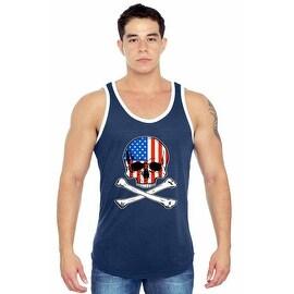 Men's USA Flag Tank Top American Pride Skull w/ Crossed Bones Grim Reaper Gym