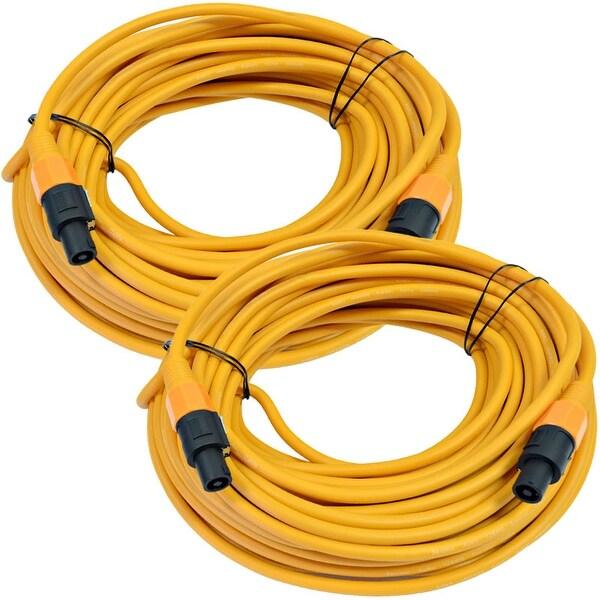 SEISMIC AUDIO Pair of 12 Gauge 100 Foot Orange Speakon to Speakon Speaker Cables
