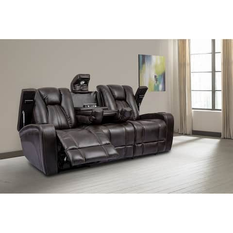 Q-Max Power Sofa Drop down table with cup holders power center and reading light