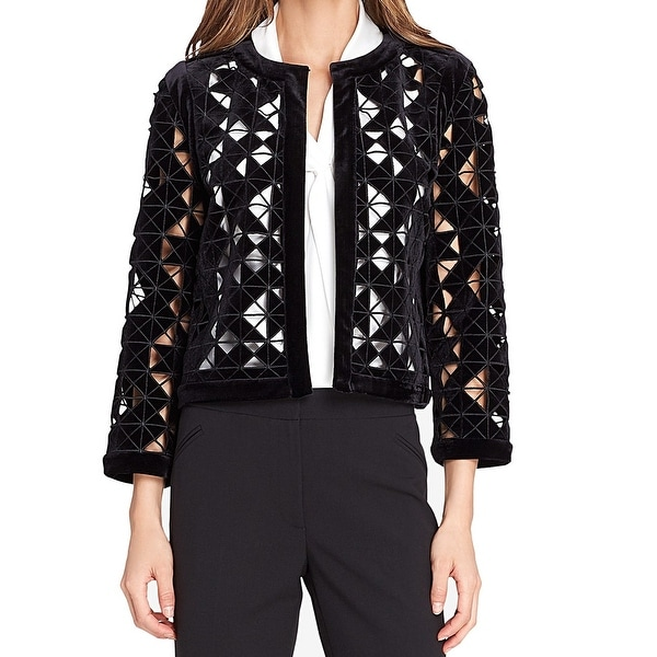 Tahari by ASL Black Women's Size 14 Laser Cut Blazer Jacket