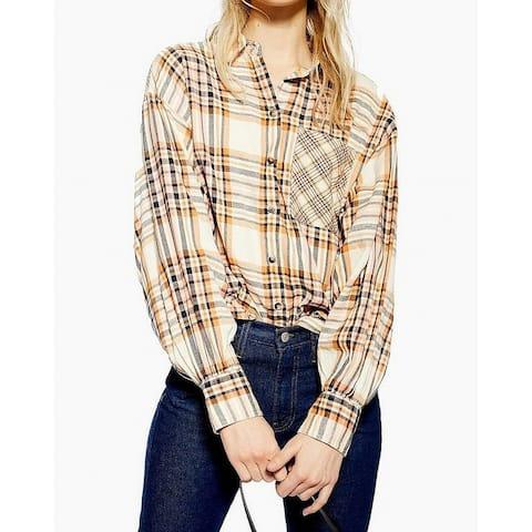 TopShop Beige Womens Size 4 Spread Collar Plaid Button Down Blouse