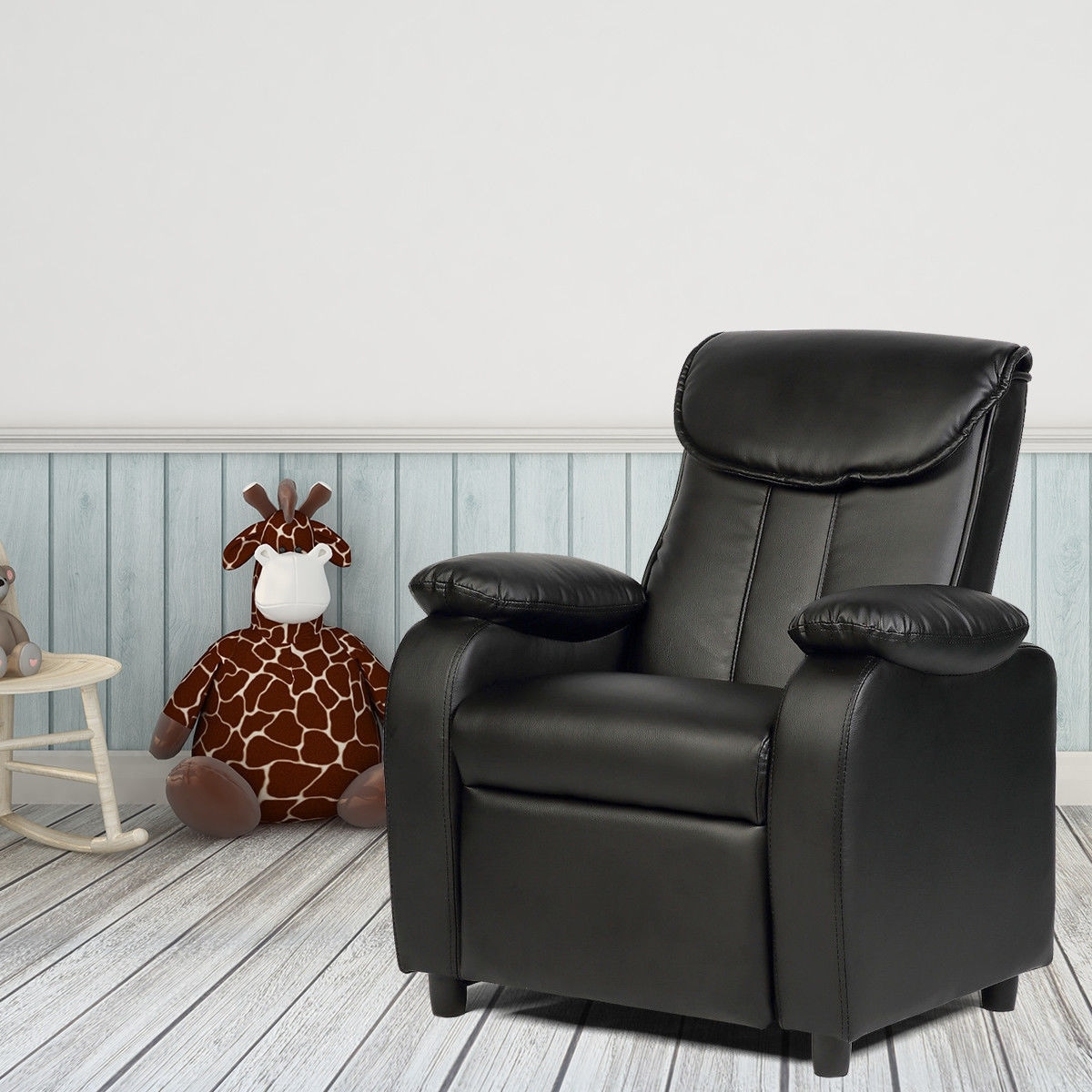Costway Kid Recliner Sofa Armrest Chair Couch Children Living Room  Furniture Home Black