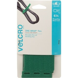 "Velcro(R) Brand One-Wrap(R) Thin Ties .5""X11"" 6/Pkg-Green"