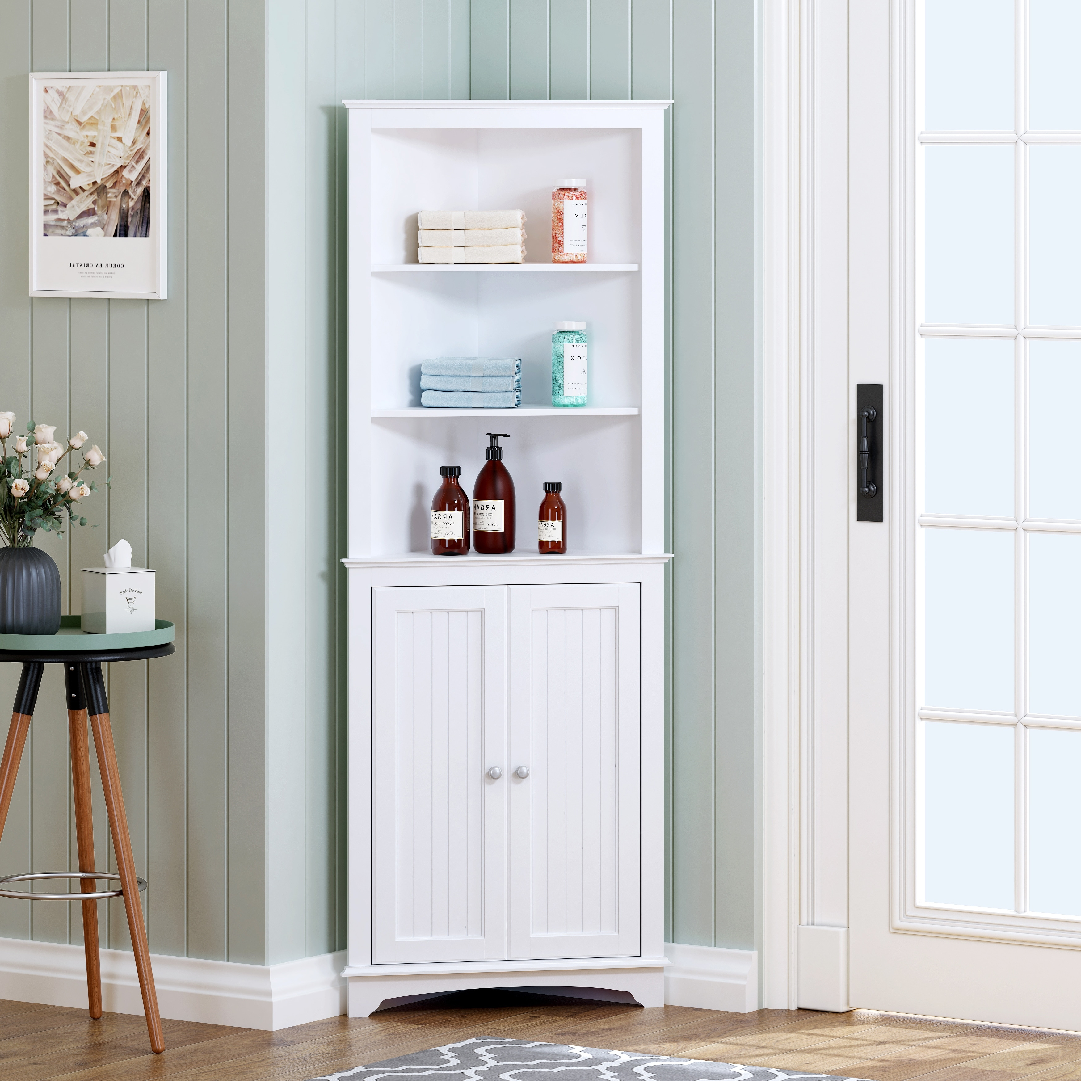 Spirich Bathroom Storage Tall Corner Cabinet With 2 Doors And 3 Tier Shelves White Overstock 31673368