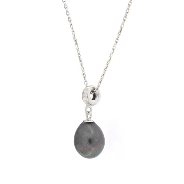 """D'AMA Women's 925 Sterling Silver Peacock Drop Freshwater Cultured Pearl (8mm) Pendant Necklace, 16"""" - Black"""