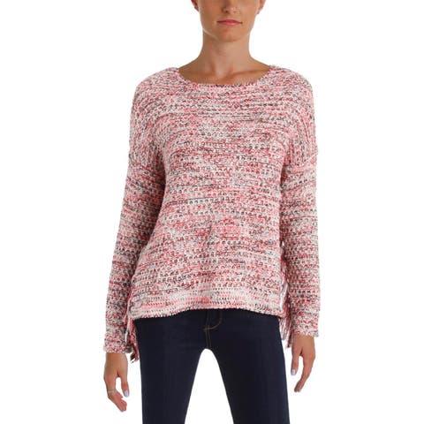 Aqua Womens Lexi Pullover Sweater Boucle Fringe