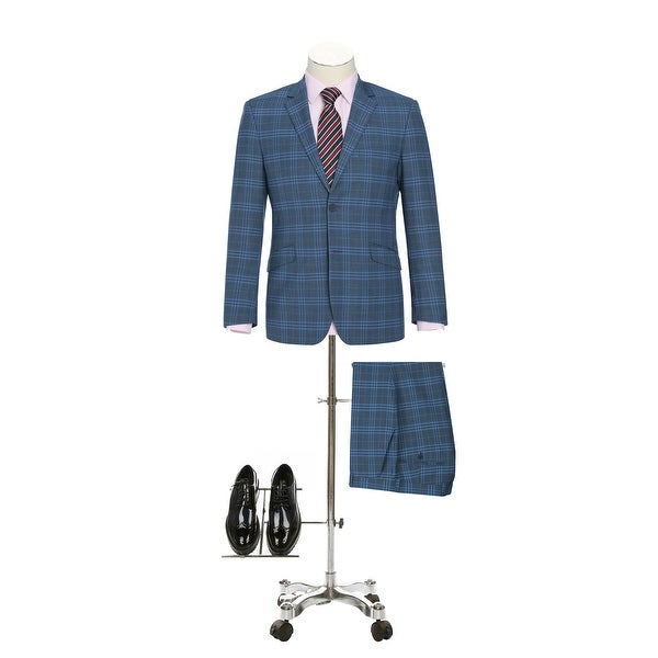 Mens Slim Fit Notch Lapel Stretch Windowpane 2-Piece Suit