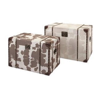"""Set of 2 White and Brown Cow Print Storage Trunks 28"""" - Off-white"""