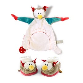 My First Nici Comforter Plush Owl Blanket and Rattling Baby Booties Set