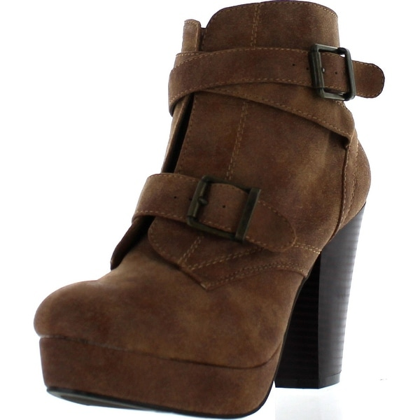 Bamboo Womens Huxley-15 Almond Toe Strappy Buckle Platform Block Heel Ankle Bootie