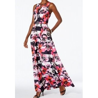 Vince Camuto NEW Pink Women's Size 8 Striped Floral Print Maxi Dress