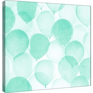 """PTM Images 9-101170  PTM Canvas Collection 12"""" x 12"""" - """"Airy Balloons in Mint B"""" Giclee Celebrations Art Print on Canvas"""