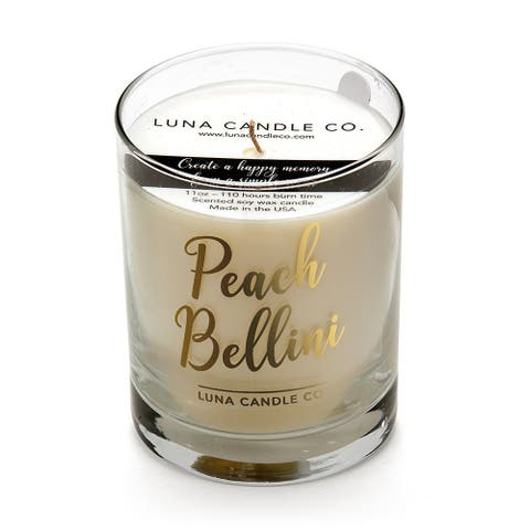 Luna Candle Co., Peach Belini - Scented Luxurious Candles - 11 Oz