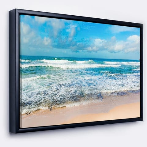 Designart 'Indian Ocean Panoramic View' Extra Large Seashore Framed Canvas Art