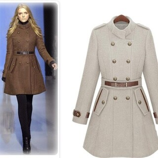 Women's woolen coat double-breasted collar cultivating long coat warm winter plus size coat