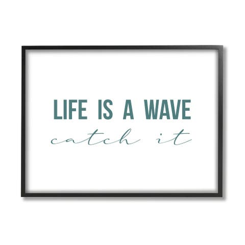 Stupell Industries Life's A Wave Catch It Phrase Nautical Typography Framed Wall Art