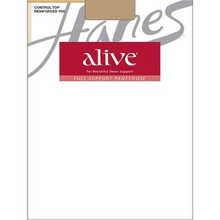 Hanes Alive Full Support Control Top Reinforced Toe Pantyhose - Size - D - Color - Little Color