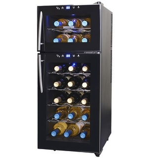 NewAir AW-210ED 21 Bottle Dual Zone Thermoelectric Wine Cooler, Black