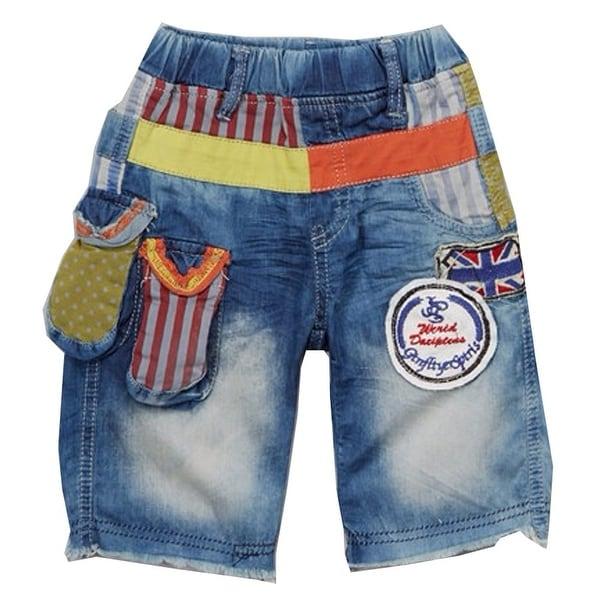Rock'nStyle Baby Boys Blue Denim American Flag Detail Stripe Dot Shorts