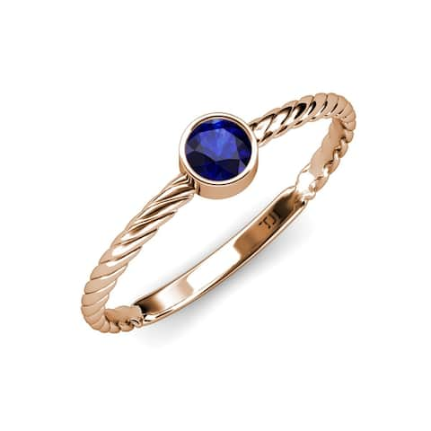 TriJewels Blue Sapphire 1/2 ct Womens Solitaire Promise Ring 14K Gold