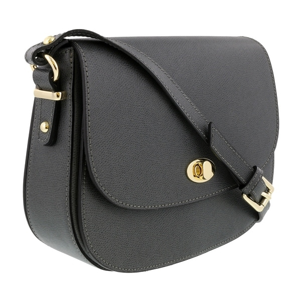 HS Collection HS1425 GG Grey Saddle Shoulder Bag - 10-8-3